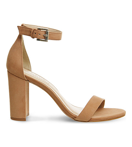 OFFICE Nina block heel nubuck sandals (Nude+nubuck