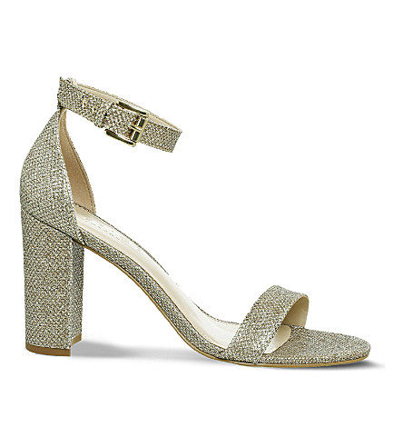 OFFICE Nina block heel metallic sandals (Champagne+lurex