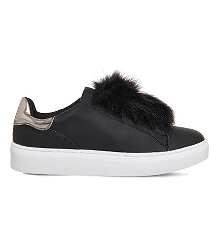 OFFICE Pom pom fluff faux-leather trainers (Black