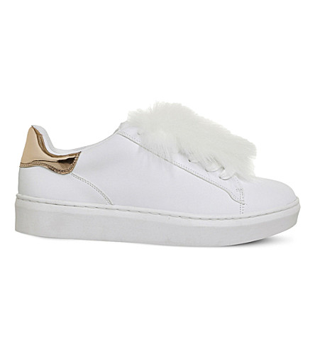 OFFICE Pom pom fluff faux-leather trainers (New+white
