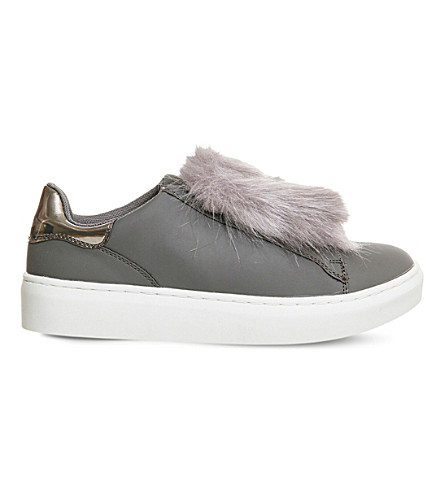 OFFICE Pom pom fluff faux-leather sneakers (Grey