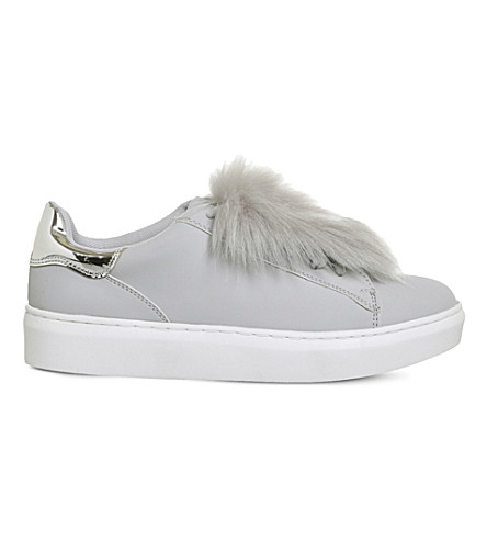 OFFICE Pom pom fluff faux-leather trainers (Light+grey