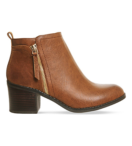 OFFICE Lola double zip ankle boots (Tan