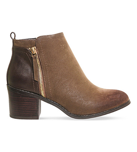 OFFICE Lola double zip ankle boots (Chocolate nubuck