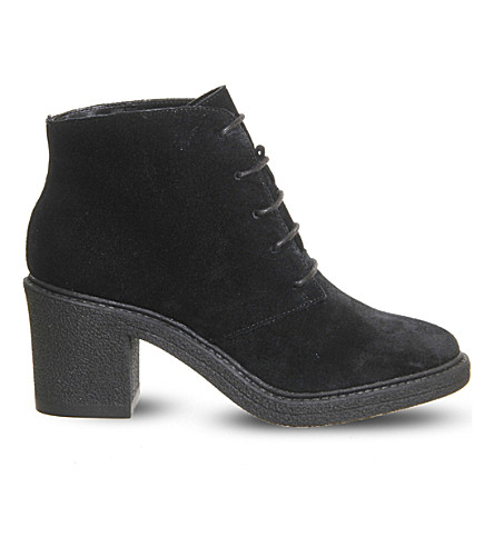 OFFICE Lulu lace-up suede ankle boots (Black suede