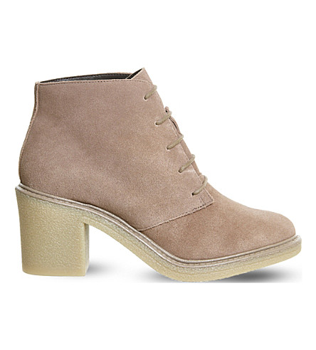 OFFICE Lulu lace-up suede ankle boots (Taupe suede