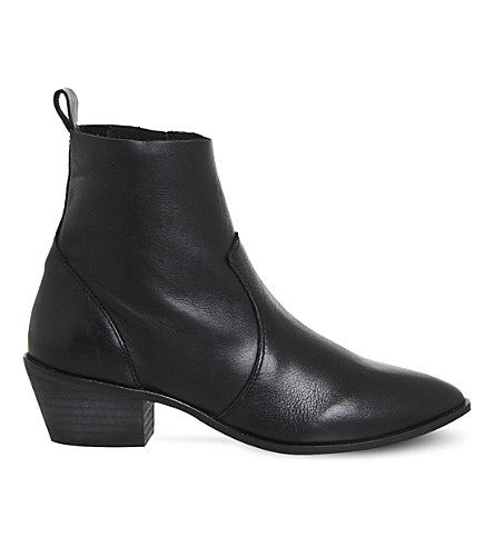 OFFICE Leighton leather ankle boots (Black leather