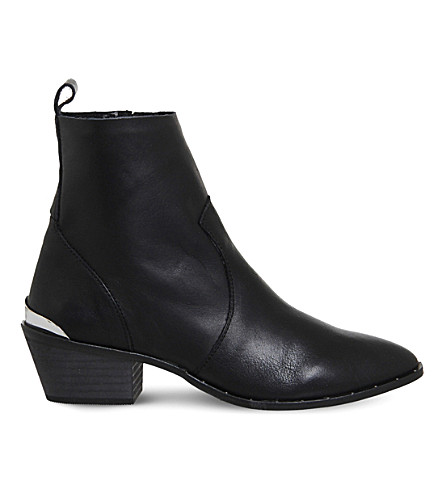 OFFICE Leighton unlined leather Western boots (Black+leather+silver