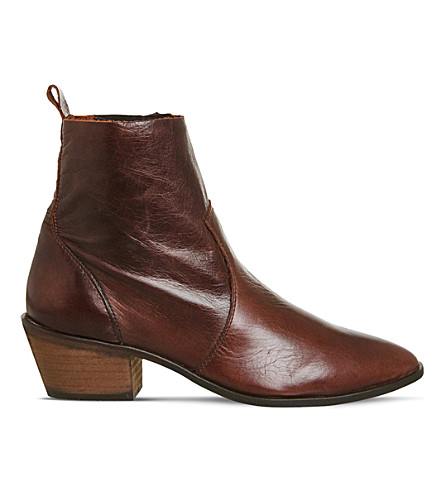 OFFICE Leighton leather ankle boots (Brown+leather