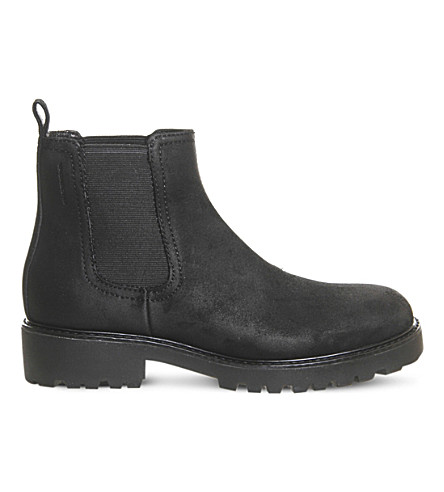 VAGABOND Kenova waxed suede Chelsea boot (Black+waxed+suede