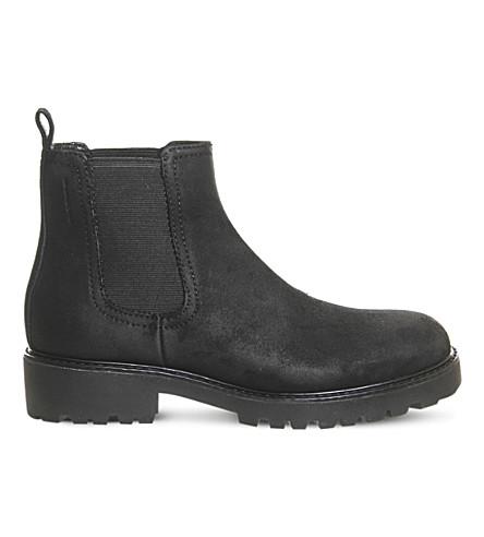 VAGABOND Kenova 蜡绒面革切尔西靴 (黑色 + 蜡 + 麂皮绒