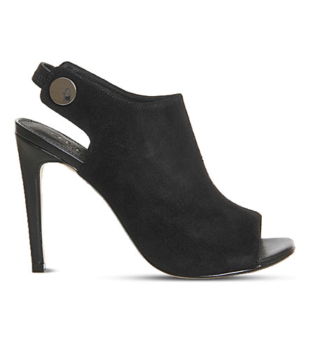 OFFICE Napa suede peep-toe shoe boots (Black kid suede