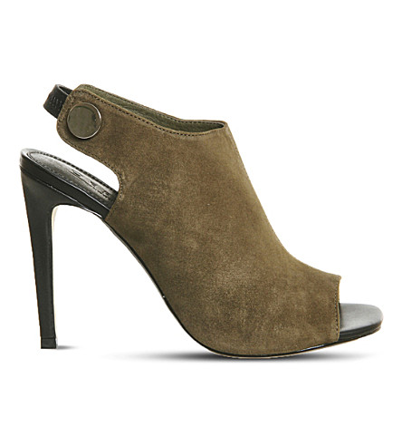 OFFICE Napa suede peep-toe shoe boots (Khaki kid suede