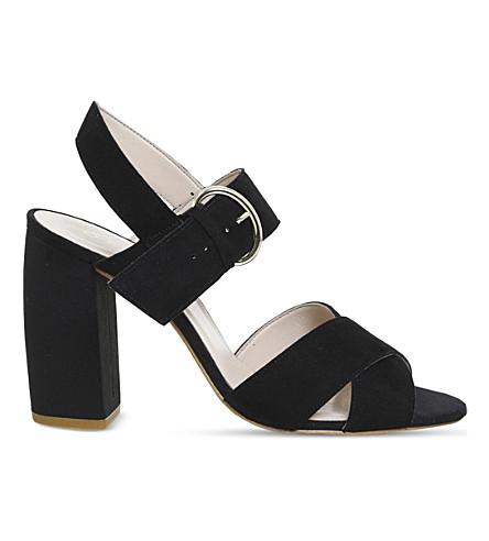 OFFICE 黑种块鞋跟绒面革凉鞋 (黑色 + 儿童 + 麂皮绒