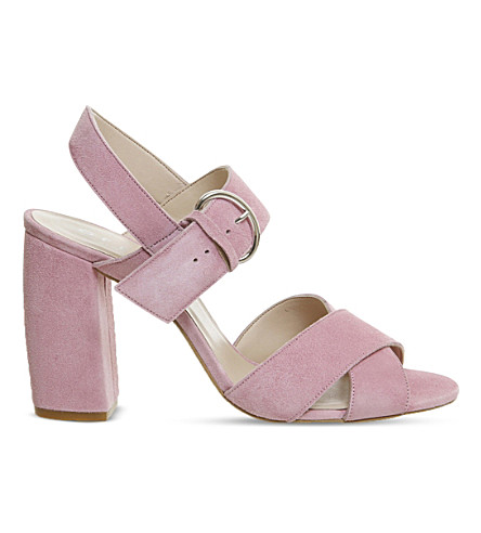 OFFICE Nigella block heel suede sandals (Pink kid suede