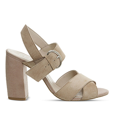 OFFICE Nigella block heel suede sandals (Nude+kid+suede