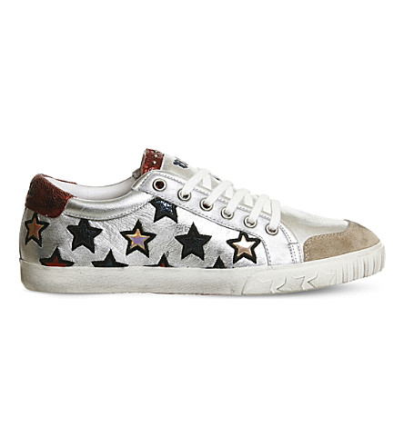 ASH Majestic low metallic-leather trainers (Silver+multi+red