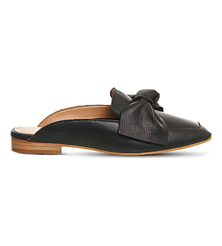 OFFICE Dance bow front leather mules (Black+leather