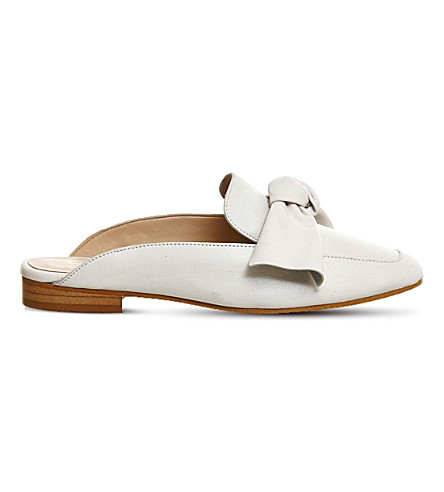 OFFICE Dance bow front leather mules (Off white leather