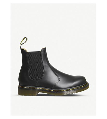 DR.貂 2976 皮革切尔西靴子 (黑色 + 皮革