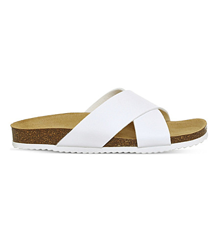 OFFICE Hoxton 2 faux-leather sliders (White