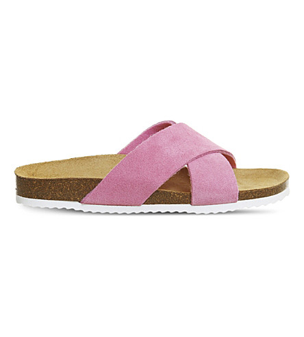 OFFICE Hoxton 2 suede sliders (Pink+suede