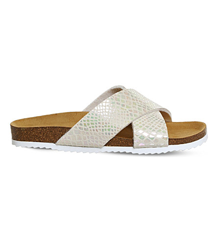 OFFICE Hoxton 2 pearlescent sliders (Nude+pearl+snake