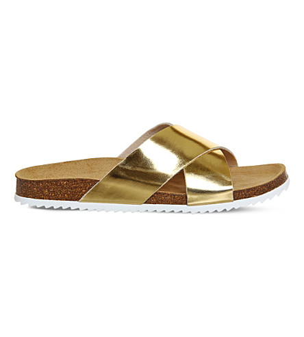 OFFICE Hoxton 2 metallic sliders (Hi+shine+gold