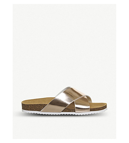 OFFICE Hoxton 2 metallic faux-leather sliders (Rose+gold