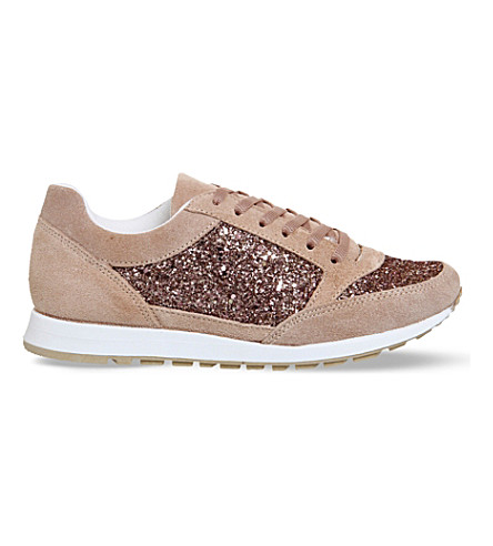 OFFICE Party glitter suede sneakers (Nude suede glitter