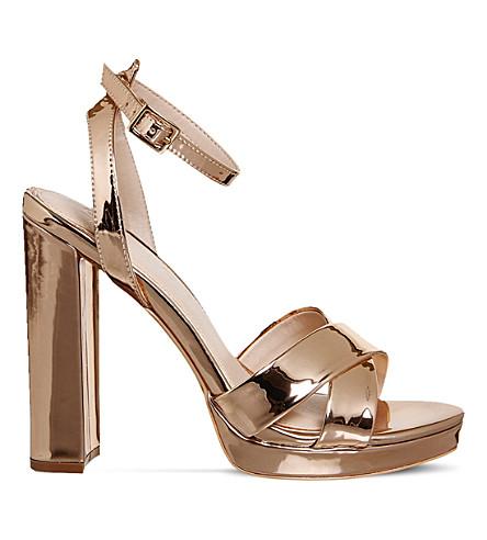 OFFICE Nickle metallic platform sandals (Rose gold mirror