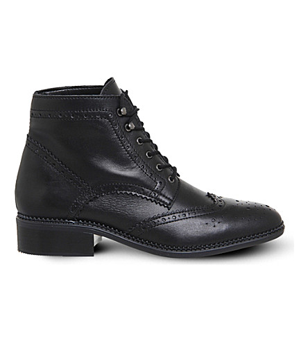 OFFICE Limerick leather brogue boots (Black leather