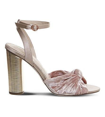 OFFICE Natural knotted velvet sandals (Pink+velvet