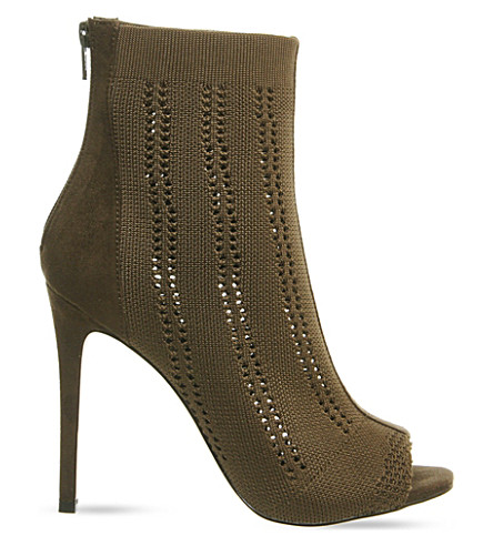OFFICE Lipstick knitted heeled ankle boots (Khaki knit