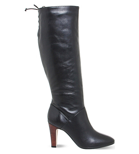OFFICE Knicks block heel knee high boots (Black+leather