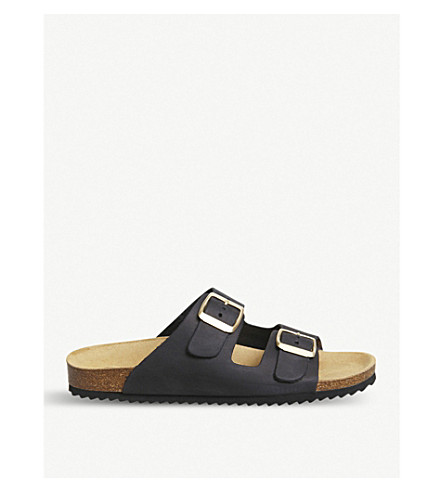 OFFICE Hype 2 double-strap leather sandals (Black+nubuck