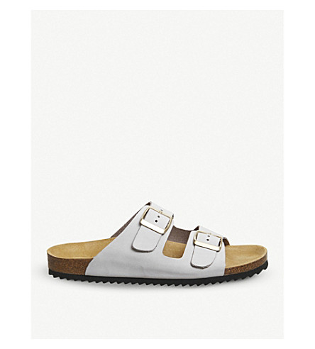 OFFICE Hype 2 double-strap leather sandals (Grey+nubuck