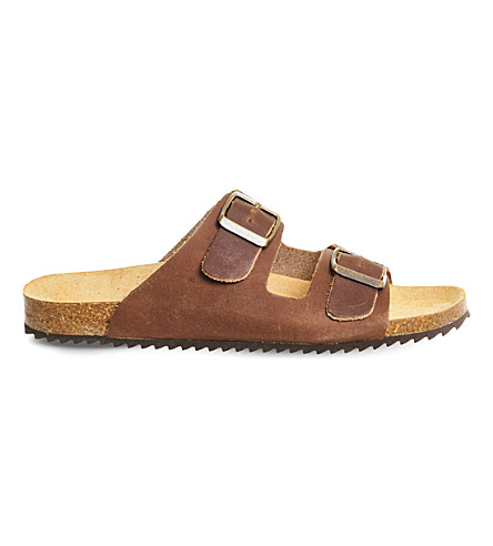 OFFICE Hype 2 double strap leather sandals (Brown+leather