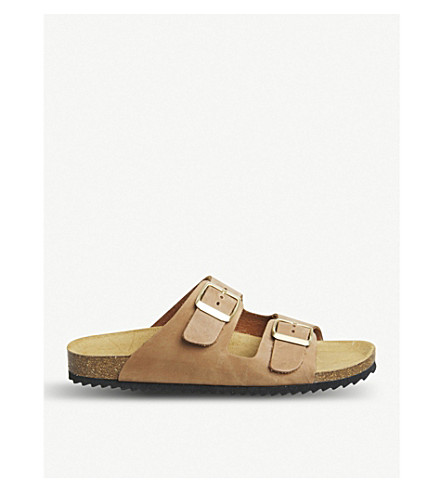 OFFICE Hype 2 double-strap leather sandals (Nude+nubuck
