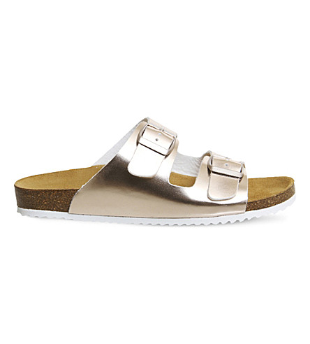 OFFICE Hype 2 metallic double strap sandals (Rose+gold+metallic