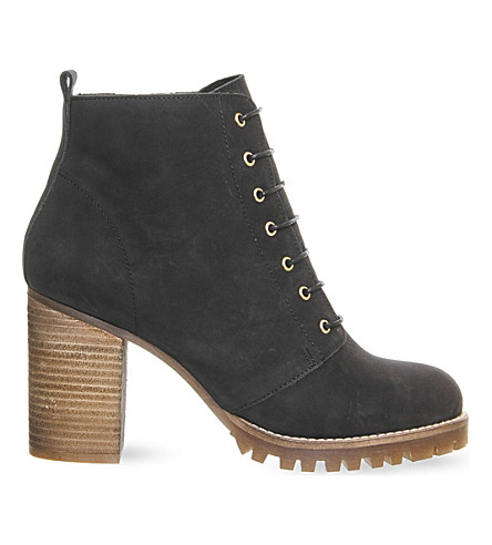 OFFICE Loose lipped lace up ankle boots (Black+nubuck