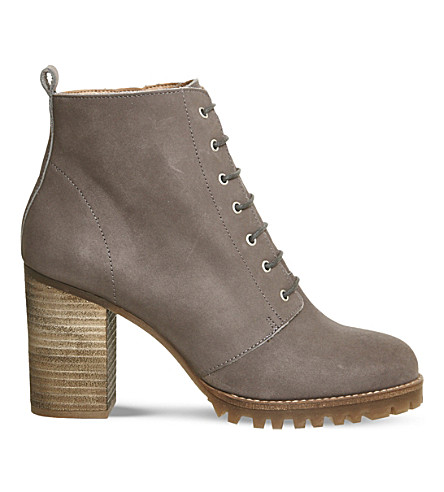 OFFICE Loose Lipped leather ankle boots (Grey+nubuck