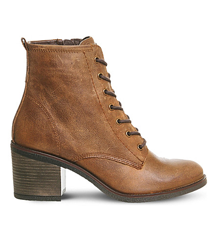 OFFICE Latch leather ankle boots (Brown leather