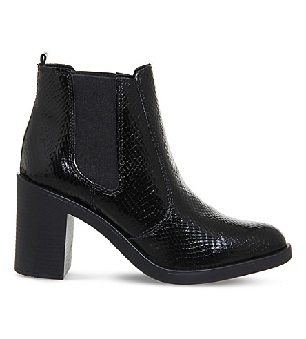 OFFICE Laura heeled Chelsea boots (Black snake leather