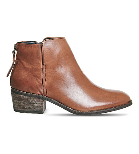 OFFICE Library zipped leather boots (Tan leather