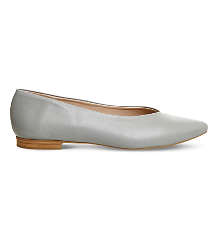 OFFICE Poison pointed leather ballet flats (Grey+leather