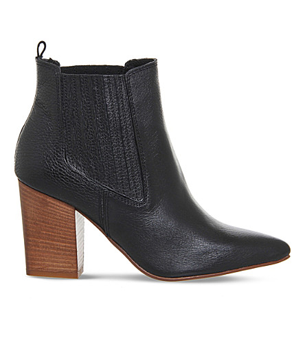 OFFICE Loretta leather pointed chelsea boots (Black leather