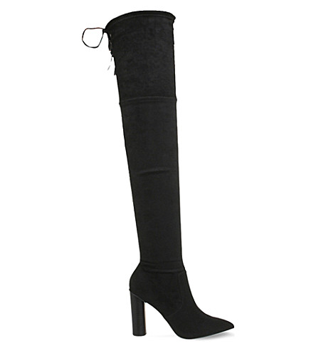 OFFICE Kandy suedette over-the-knee boots (Black