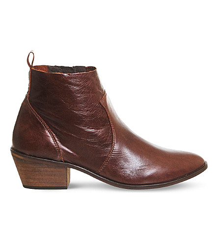 OFFICE Leigh leather ankle boots (Brown+leather