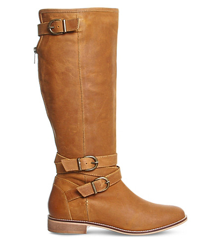 OFFICE Kara leather knee-high boots (Tan+leather